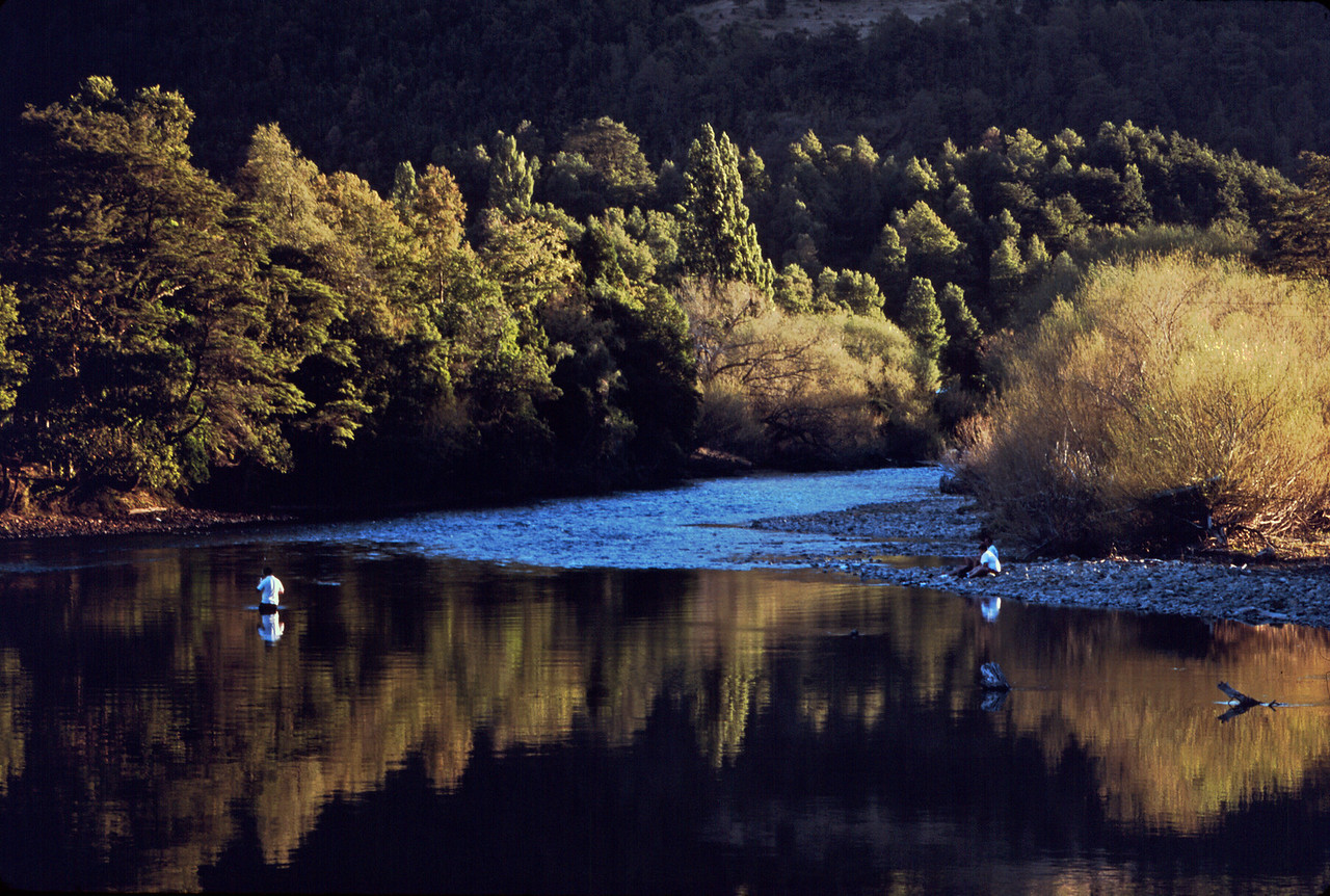 Local angler in a river in southern Chile, near Villarica