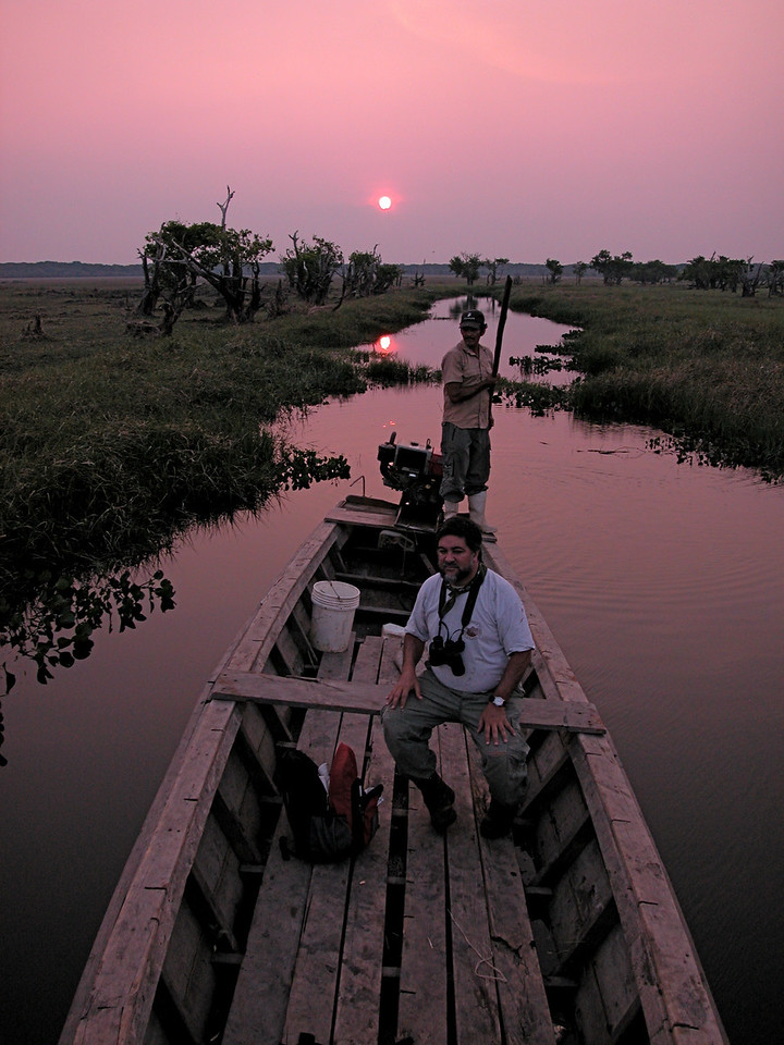 Sunset boat trip on a small inlet to a lake in the Beni region of northern Bolivia, near Puerto Siles on the Rio Mamore.  Perhaps the most remote place that I've ever been.  North of this spot is over 1000 miles of almost unbroken Amazon forest.