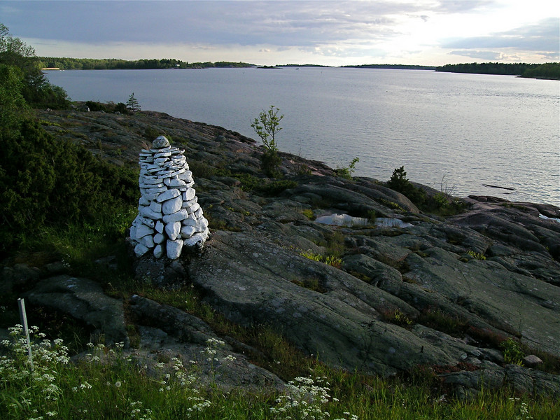 White rock cairn, Åland Islands, Finland.