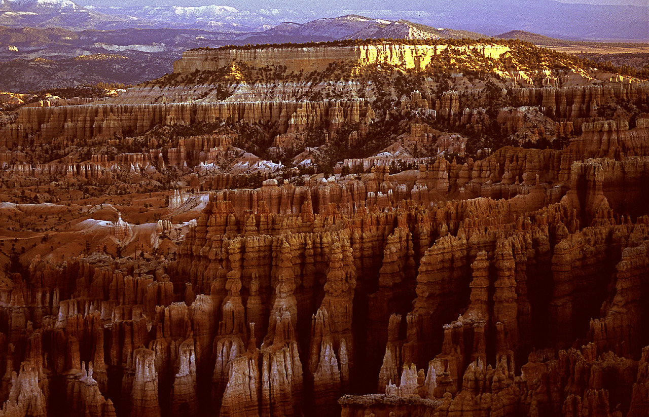 Sunrise at Bryce Canyon National Park, Utah, on a cold morning in June.