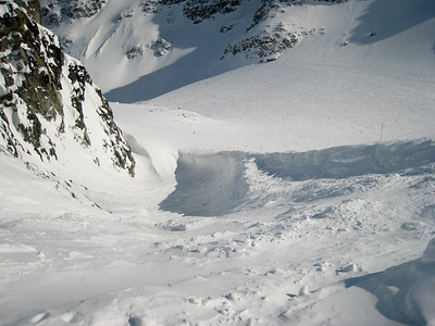 "This is the ""blow hole,"" a double-black-diamond entrance into Blackcomb Glacier.  Somehow, this picture really doesn't do it justice."