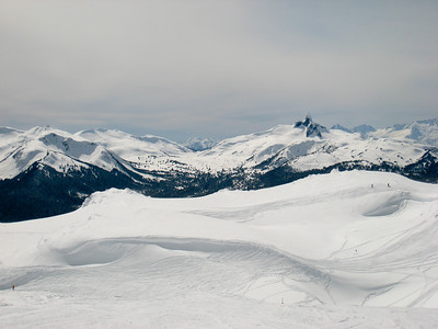 Black Tusk, as seen from the top of Harmony Express on Whistler Mountain.  The wide-open powdery slopes of the Symphony Amphitheatre are visible in the foreground.