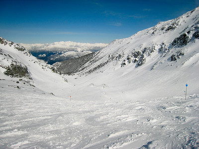 About halfway down the Blackcomb Glacier, looking down.  From here, it's about 10km to the bottom of Excelerator Chair.