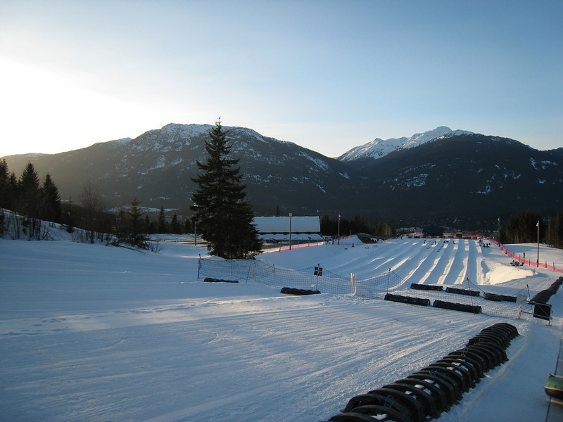 """The Blackcomb tube park: we decided to have a fun evening tubing before starting out skiing.  Unfortunately, the """"black diamond"""" tube runs weren't open."""