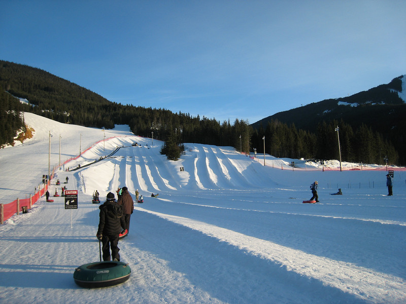 "The Blackcomb tube park: we decided to have a fun evening tubing before starting out skiing.  Unfortunately, the ""black diamond"" tube runs weren't open."