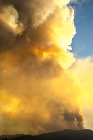 "An unusual meteorological occurrence called a ""vorticity"" moved over the Pioneer Fire (Idaho, 2016) one evening resulting in greater fire activity than would be expected and producing an impressive pyrocumulus cloud backlit by a setting sun. (Idaho, 2016) one evening resulting in greater fire activity than would be expected and producing an impressive pyrocumulus cloud backlit by a setting sun."