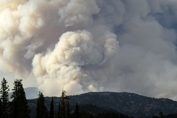 Pyrocumulus cloud indicates an intense fire usually forming in very hot and dry conditions.
