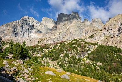 Pylon Peak, South Watch Tower, Watch Tower, Block Tower, Shark's Nose, Overhanging Tower, and Wolf's Head, Cirque of the Towers, Wind River Range, Wyoming