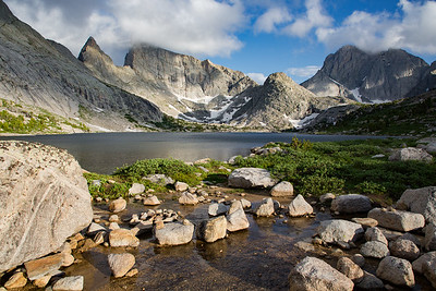 Deep Lake, Steeple Peak, East Temple Peak, and Temple Peak, Wind River Range, Wyoming