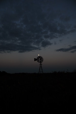 Kansas Windmill with the Moon in the Background - Photo Taken: September 21, 2010
