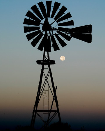 Kansas Windmill with the Moon in the Background - Photo Taken: September 27, 2007