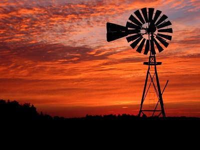 Kansas Windmill at Sunrise - Photo Taken: October 2, 2006