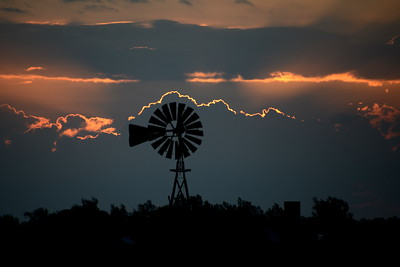 Kansas Windmill at Sunrise - With a Silver Lining - Photo Taken: September 26, 2014