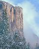 El Capitan in winter, clearing fog