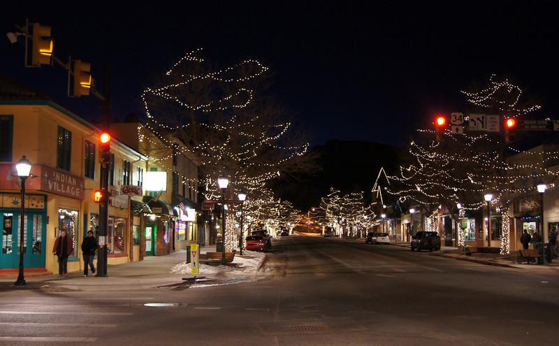 Main Street, Estes Park, Colorado, on a crisp December night.