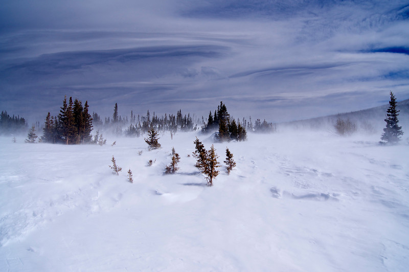 Furious spring winds aloft and on the ground! Brainard lake; Colorado Indian Peaks Wilderness.