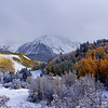 A frosty autumn landscape along Dallas Creek in the Mount Sneffels Wilderness, Colorado San Juan Range.