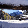Looking through an aspen bole fence at Mount Sneffels; Colorado San Juan Range.