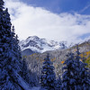 A snowy autumn landscape on the Blain Basin trail; Mt. Sneffels Wilderness, Colorado.