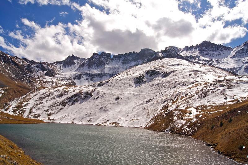 Autumn snow at Blue Lakes; Mount Sneffels Wilderness, Colorado San Juans.
