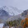 Blowing snow amidst the autumn colors in the Mount Sneffels Wilderness; Colorado San Juan Range.