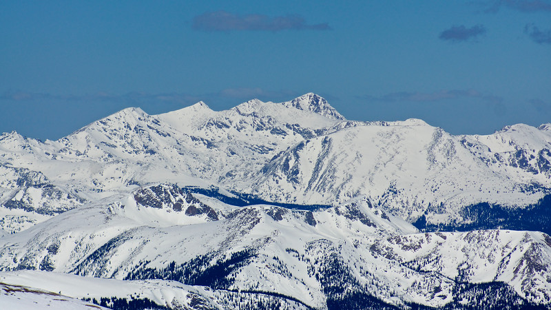 Telephoto shot of Mount of the Holy Cross (14,005 ft.), viewed from the summit Mt. Elbert in early March.