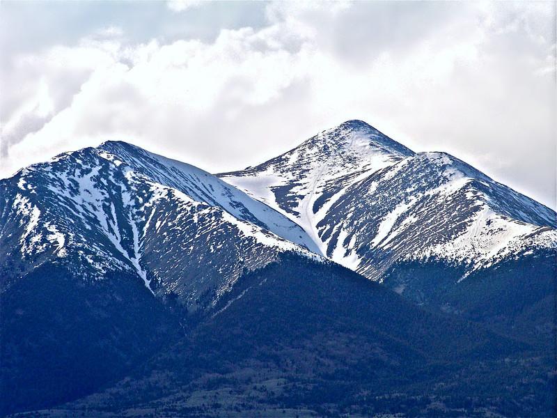 Late spring snow dominates the Mt. Shavano landscape; Colorado Sawatch Range.