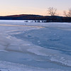 Icy Dawn<br /> Lake Massabesic, Auburn, NH, Jan 2010.  I really like that tiny strip of open water.  Before we get a lot of snow, the ice is really spectacular.