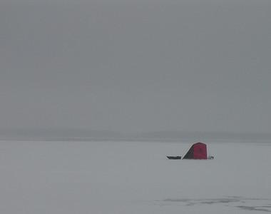 Whoops!  Ice house on Lake Shetek that is sinking.