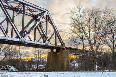 Train Bridge over a Sunset - HDR