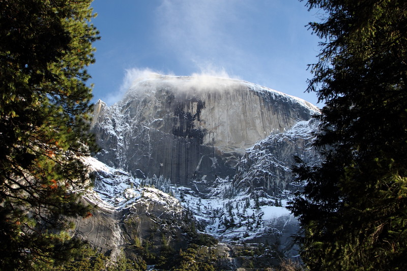 Snow blowing off Halfdome