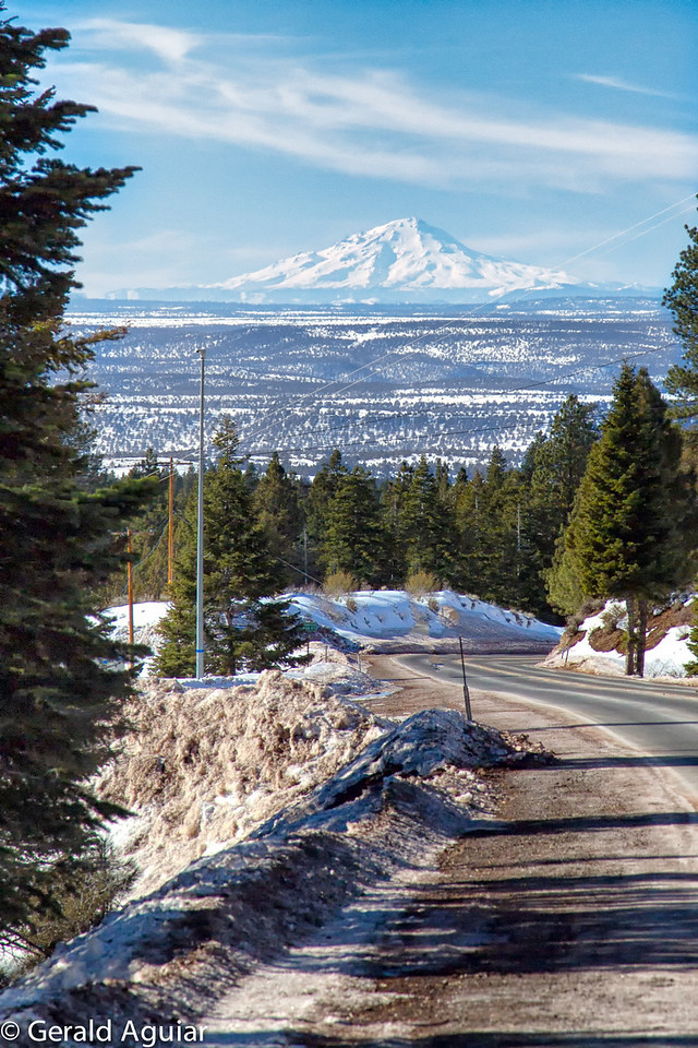 This view of Mt Shasta is west of Cedar Pass Summit on highway 299.   Heather (my driver) and I are probably 100  miles from Mt. Shasta.