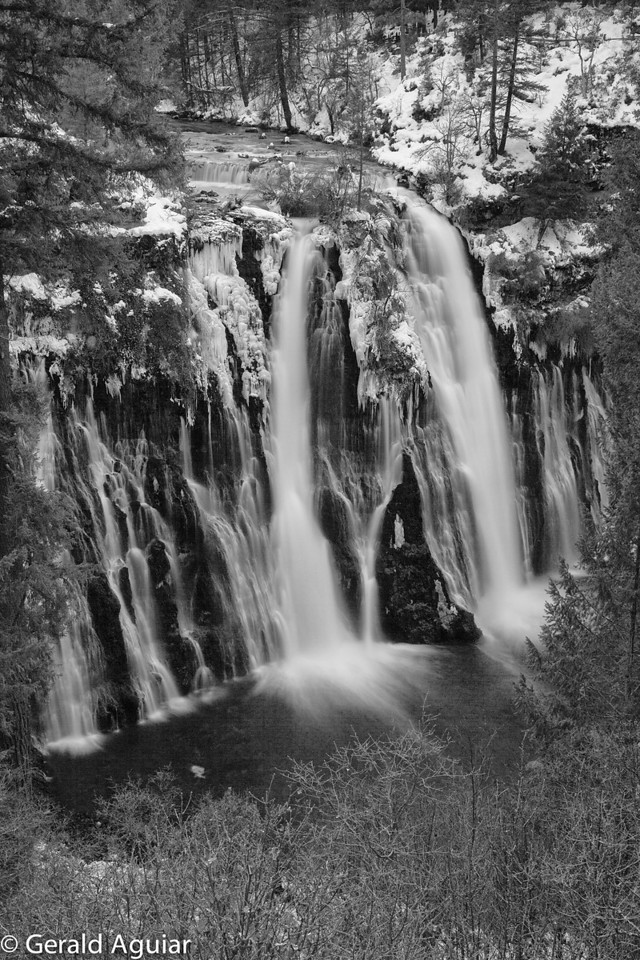 Jen and I stopped at Burney Falls at dusk on our way home Saturday night.  This black and white had a 3.5 second exposure.