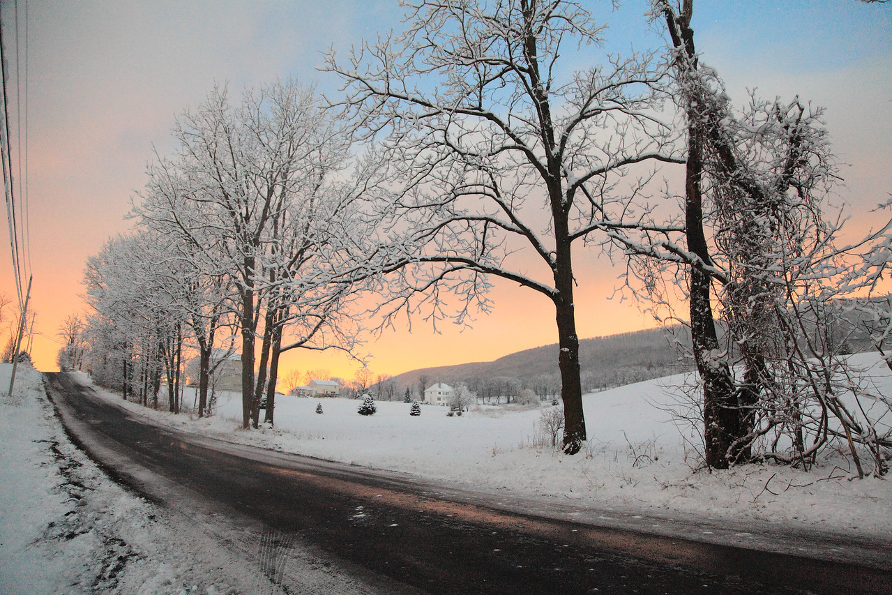 Out before the sunrise at 6am on Valentine's Day morning. Brush Valley road, near Linden Hall, PA.  A very sticky snow from the previous evening was still on the trees and everything else.  One of the prettiest winter mornings I've ever seen.