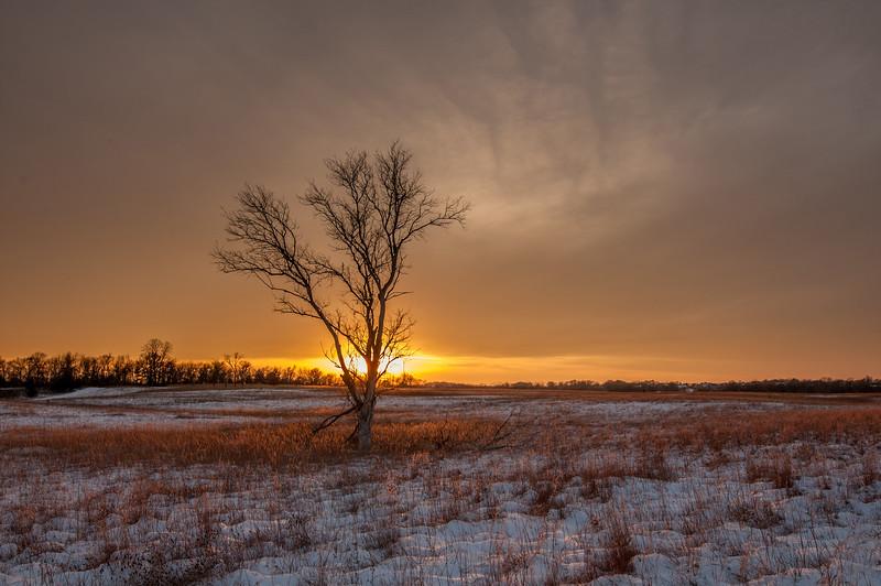 Prairie winter sunset