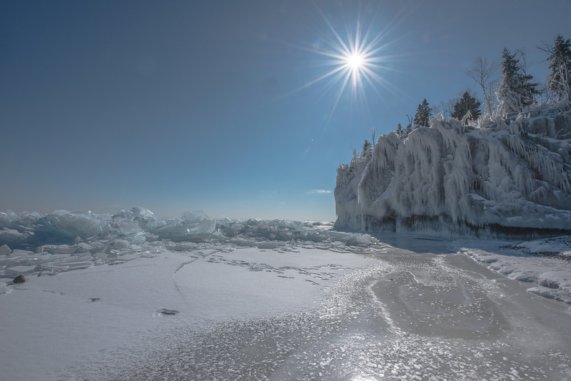 Ice Cliff at the Baptism River at high noon
