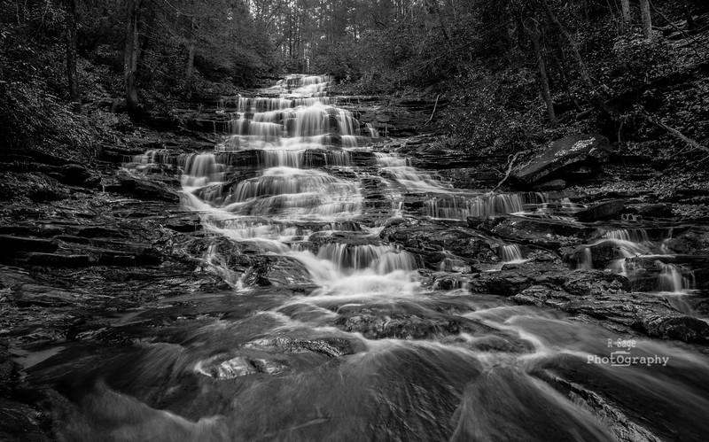 minnehaha falls georgia b&w