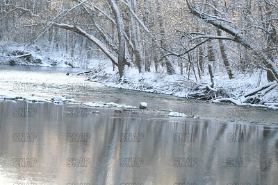 Snow and Ice on Sugar Creek at the Atterbury Fish and Wildlife Area, near Edinburgh, IN.