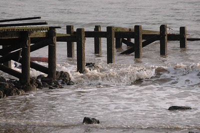 Waves crashing on pier at Canvey