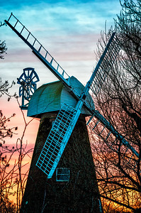 Rayleigh windmill early morning. This shot is only possible in winter as the view is from Rayleigh Mount and the leaves on the trees on the Mount have yet to grow.