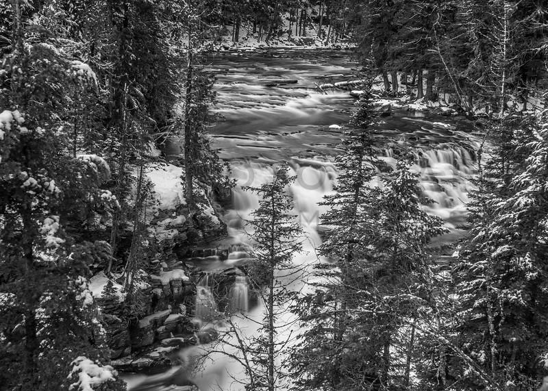 McDonald Creek in Winter, Glacier National Park, Montana - Long Exposure