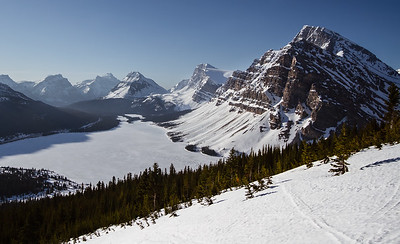 A different, and stunning, view of the famous Bow Lake from yesterday morning.
