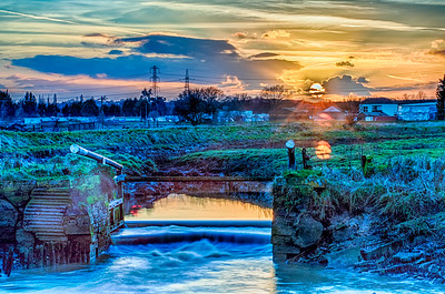 3 photographs shot 2 exposures apart proceesed in Nik HDR efexPro to produce a realistic landscape scene
