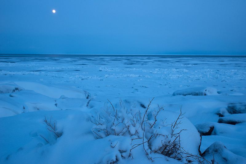 Winter full moon on Lake Superior