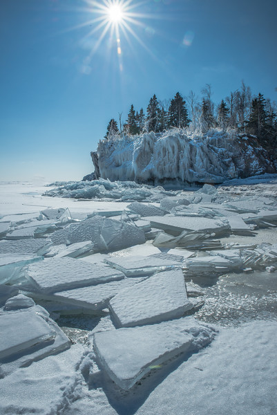 Ice shards at the mouth of the Baptism River