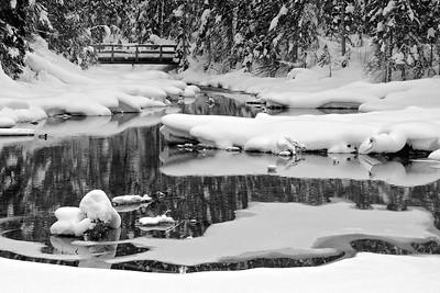 A calm bridge overlooks Emerald Lake in the winter