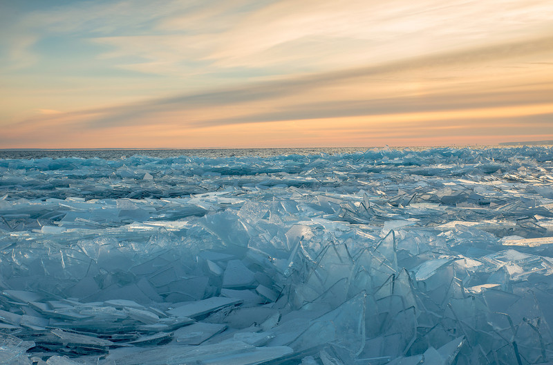 Stacked ice on Lake Superior