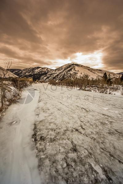 Deep Winter, Frozen River, Missoula, Montana