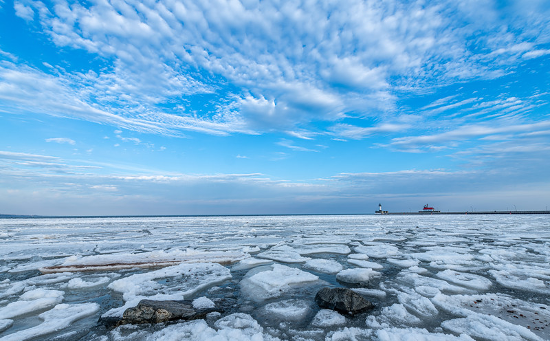 Floating ice at Duluth Harbor