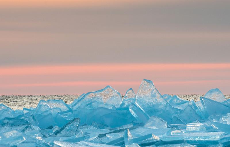 Lake Superior ice at twilight